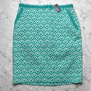 NWT The Limited Teal White Printed Pencil Skirt